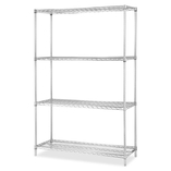 "Industrial Wire Shelving,Starter Kit,4 Shelf/Post,48""x24"",CE by Lorell"