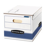 STOR/FILE Storage Box, Letter/Legal, 12 x 15 x 10, White/Blue, 12/Carton by FELLOWES MFG. CO.