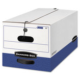 LIBERTY Heavy-Duty Strength Storage Box, Letter, 12 x 24 x 10, White/Blue, 4/CT by FELLOWES MFG. CO.