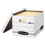 STOR/FILE Storage Box, Letter/Legal, Lift-off Lid, White/Blue, 12/Carton by FELLOWES MFG. CO.