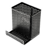 Urban Collection Punched Metal Pencil Cup/Cell Phone Stand, 3 1/2 x 3 1/2, Black by ARTISTIC LLC