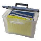Portable File Storage Box w/Organizer Lid, Letter/Legal, Clear by STOREX