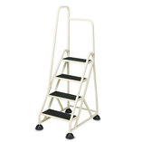 Four-Step Stop-Step Folding Aluminum Handrail Ladder, Beige by CRAMER