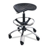 """Sit-Star Stool with Footring & Caster, 27""""-36h Seat, Black/Chrome by SAFCO PRODUCTS"""