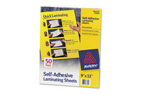 Avery 73601 Clear Self-Adhesive Laminating Sheets, 3 mil, 9 x 12, 50/Box by AVERY-DENNISON