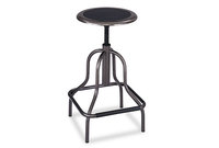 Safco Products 6665 Diesel Series Backless Industrial Stool, High Base, Black Leather Seat by SAFCO PRODUCTS