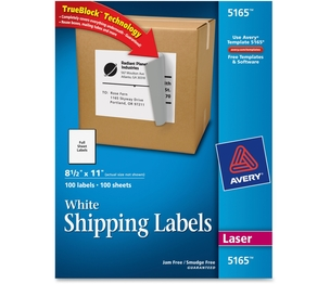 "Avery 5165 Laser Labels, Full Sheet, Permanent, 8-1/2""x11"",100/BX,White by Avery"