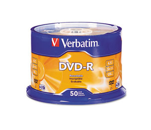 Verbatim America, LLC 95101 DVD-R Discs, 4.7GB, 16x, Spindle, Silver, 50/Pack by VERBATIM CORPORATION