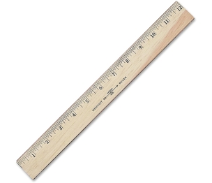 "ACME UNITED CORPORATION 05221 Wood Ruler,Scaled in 16ths/Metric,Double Brass Edge,12"" L by Westcott"