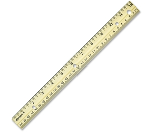 "ACME UNITED CORPORATION 10702 English/Metric Ruler, Metal Edge, Wood, 12"" L ,Natural by Westcott"