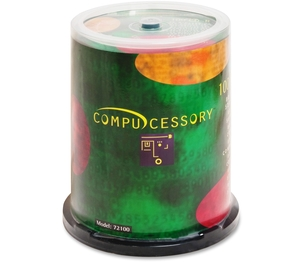 Compucessory 72100 CD-R, 52x, 700MB/80Min, Branded, 100/PK by Compucessory