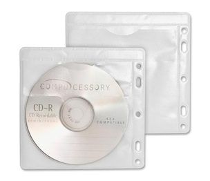 Compucessory 22290 CD/DVD Sleeves, Hole Punched, 100/PK, White/Clear by Compucessory