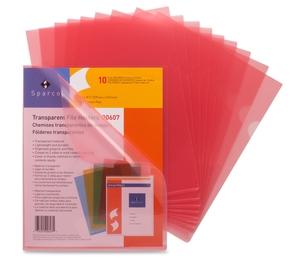 """Sparco Products 00607 Transparent File Holders,Water Resistant,11""""x8-1/2"""",10/PK,RD by Sparco"""