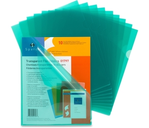 "Sparco Products 01797 Transparent File Holders,Water Resistant,11""x8-1/2"",10/PK,GN by Sparco"
