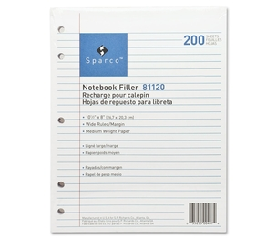 """Sparco Products 81120 Filler Paper,5-HP,Wide Ruled,10-1/2""""x8"""",200/PK,White by Sparco"""