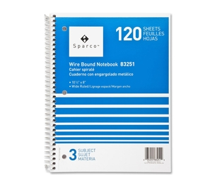"""Sparco Products 83251 Notebooks,3 Subject,10-1/2""""x8"""",Wide Ruled,120 Sht,AST by Sparco"""