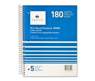 "Sparco Products 83252 Notebooks,5 Subject,10-1/2""x8"",Wide Ruled,180 Sht,AST by Sparco"