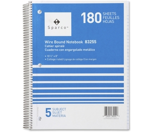 "Sparco Products 83255 Notebooks,5 Subject,10-1/2""x8"",College Ruled,180 Sht,AST by Sparco"