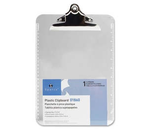 """Sparco Products 01860 Transparent Plastic Clipboard, 9""""x12"""", Clear by Sparco"""