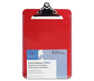 "Sparco Products 01864 Transparent Plastic Clipboard, 9""x12"", Red by Sparco"
