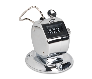 Sparco Products 24200 Tally Counter With Base, Silver by Sparco
