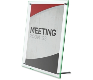 """Deflecto Corporation 799693 Sign Holder,Beveled Edge,Holds 8-1/2""""x11"""",Green Edge/Clear by Deflect-o"""