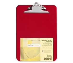 "Nature Saver 1541 Plastic Clipboard, Recycled, 1"" Cap, 9""x12"", Red by Nature Saver"