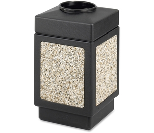 "Safco Products 9471 Square Top Receptacle,38 Gal,18-1/4""x18-1/4""x31-1/2"",Black by Safco"