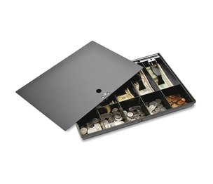 """Sparco Products 15505 Money Tray, w/ Locking Cover, 16""""x11""""x2-1/4"""", Black by Sparco"""