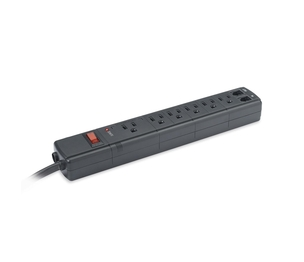 Compucessory 25658 Surge Protectors, 1500 Joules, 6 Outlets, 4' Cord, Black by Compucessory
