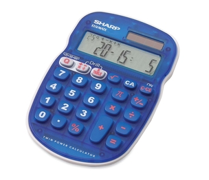"Sharp Electronics ELS25BBL 10-Digit Calculator, Drill function, 3-1/3""x5""x3/4"", Blue by Sharp"