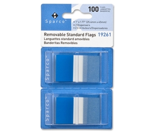 """Sparco Products 19261 Removable Standard Flags, Dispenser, 1"""", 100/PK, Blue by Sparco"""