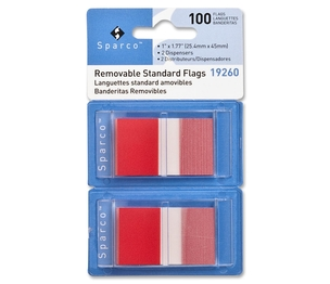 """Sparco Products 19260 Removable Standard Flags, Dispenser, 1"""", 100/PK, Red by Sparco"""