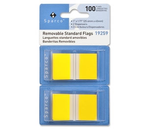 """Sparco Products 19259 Removable Standard Flags, Dispenser, 1"""", 100/PK, Yellow by Sparco"""