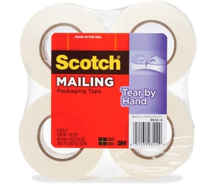 """3M 38424 Tear-By-Hand Packaging Tape, 1.88"""" x 50 YD, 4/PK, Clear by Scotch"""