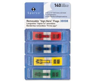 """Sparco Products 38008 Sign Here Pop-Up Flags Dispenser,1/2""""x1-3/4"""",140/PK,AST by Sparco"""