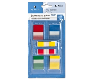 Sparco Products 38009 Flag Kit,w/Pop-up Dispenser,Removable,270 Flags,Assorted by Sparco