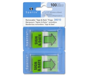 """Sparco Products 38010 Sign and DatePop-Up Flags, 1""""x1-3/4"""", 100/PK, Green by Sparco"""