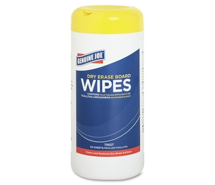 Genuine Joe 75627 Board Wipes, Dry-Erase, Nontoxic/Low-Odor, 50 Wipes/Tub by Genuine Joe