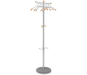 "Alba, Inc PMWAVE Coat Tree,6 Metal Hangers, 19-1/4""x15-1/4""x68-1/2"", Chrome by Alba"
