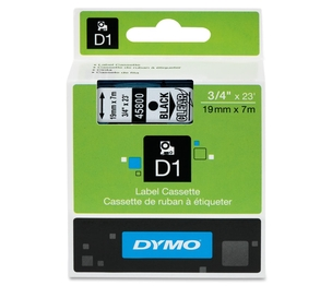 """Newell Rubbermaid, Inc 45800 DYMO D1 Electronic Tape, 3/4""""x23' Size, Black/Clear by Dymo"""
