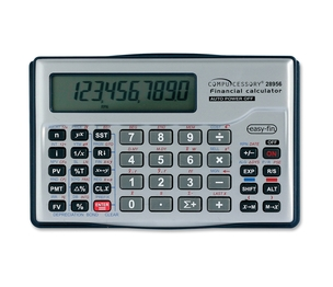 "Compucessory 28956 10-Digit Financial Calculator, 5""x3-1/8""x5/8"", Silver by Compucessory"