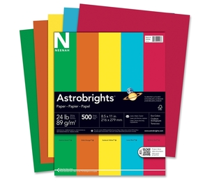 "Neenah Paper, Inc 22226 Colored Paper, 24 lb., 8-1/2""x11"", 500 Sheets/RM, Assorted by Astrobrights"