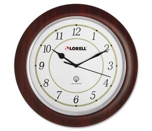 """Lorell Furniture 60986 Wall Clock, Arabic Numerals, 13-1/4"""", White Dial/Woodgrain by Lorell"""