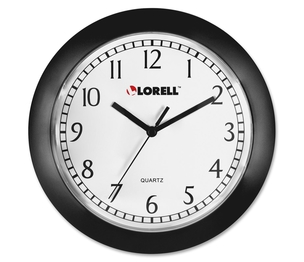 """Lorell Furniture 60987 Wall Clock, 9"""", Arabic Numerals, White Dial/Black Frame by Lorell"""