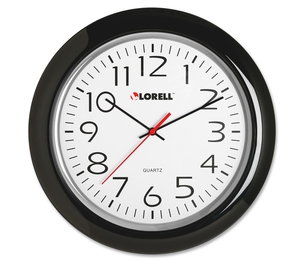 "Lorell Furniture 60989 Wall Clock, 13-1/4"", Arabic Numerals, Black Frame by Lorell"