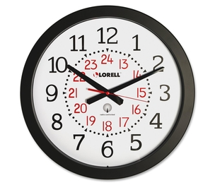 """Lorell Furniture 60993 Military Wall Clock,12/24 Hour,14-3/4"""",WE Dial/BK Frame by Lorell"""