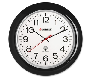 """Lorell Furniture 60994 Wall Clock,13-1/4"""",Arabic Numerals,White Dial/Black Frame by Lorell"""