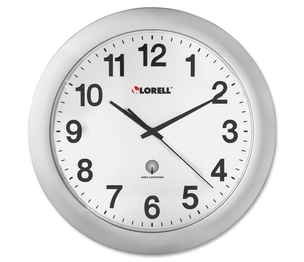 """Lorell Furniture 60996 Wall Clock, 12"""", Arabic Numerals, White Dial/Silver Frame by Lorell"""