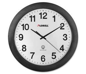 """Lorell Furniture 60997 Wall Clock, 12"""", Arabic Numerals, White Dial/Black Frame by Lorell"""